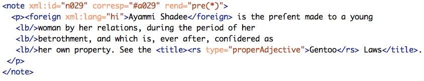 "Example encoding of ""Ayammi Shadee."""