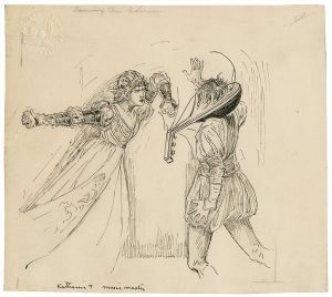 An ink drawing of Katherine breaking a lute over Hortensio's head by Louis Rhead. The illustration was designed for an edition of Lamb's Tales, copyrighted 1918. Folger Shakespeare Library Digital Image Collection