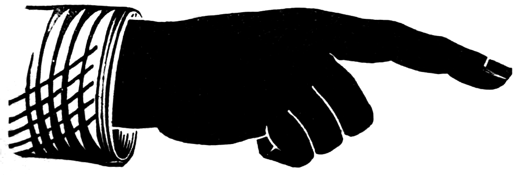 A right-pointing manicule from the Specimen Book of the Cincinnati Type Foundry, 1882.