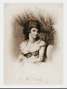 An image of Mrs. Cowley seated in front of a drawn curtain. She wears a long-sleeved dress with a wide, ruffle collar and her hair is curled and piled on top of her head. She holds an open book in her hand and the artist has included a sketch of a painting hanging on the wall behind her.