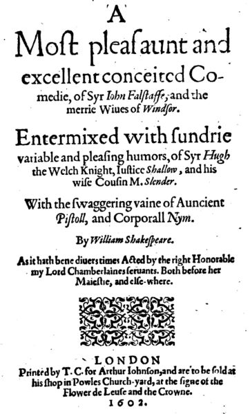 The title page for the 1602 printing of Merry Wives of Windsor