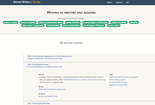 The new Women Writers in Review interface